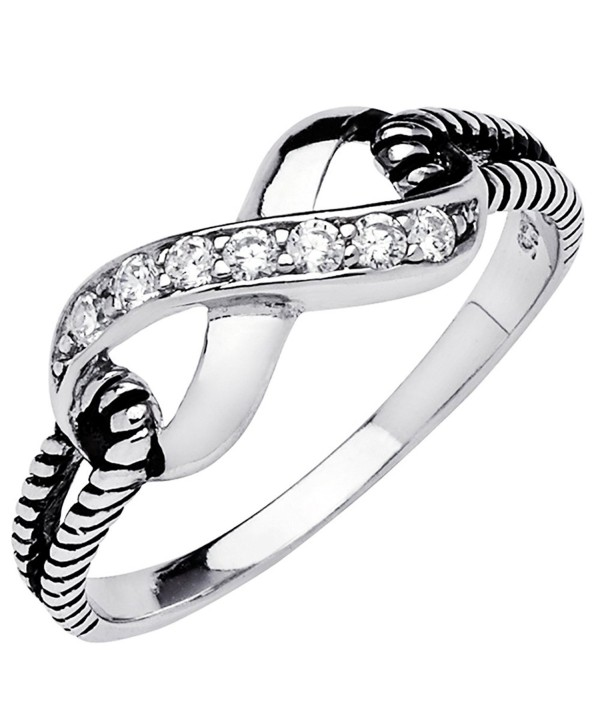 925 Sterling Silver Infinity Rope Knot Cz Band Ring - CI12E1NOM2F
