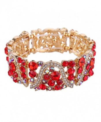 EVER FAITH Austrian Crystal Art Deco Wave Bridal Elastic Stretch Bracelet - Gold-Tone Red - CD12O0NDOV5