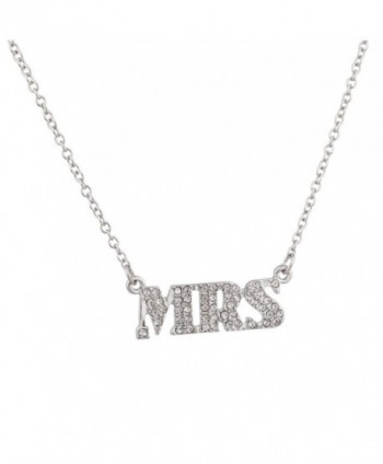 Lux Accessories MRS Miss Taken Pave Pendant Necklace. - CO123FINSGD