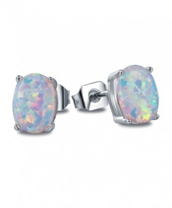 OREOLLE Jewelry Women's Oval Opal Stud Earrings Fashion - silver - silvery - CB189NCI06W
