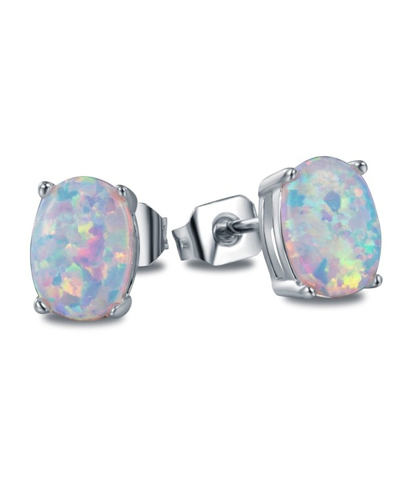 OREOLLE Jewelry Women's Oval Opal Stud Earrings Fashion - silver - silvery - CB189NCI06W