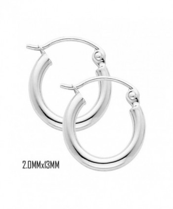 14K White Gold 13 mm in Diameter Classic Hoop Earrings with 2.0 mm in Thickness and Snap Post Closure - CI11OMNZAGV