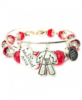 "ChubbyChicoCharms Karate Gi Pink Crystal Bracelet with Adjustable Wire Bangle Set- 2.5"" - C511LXLXFB3"