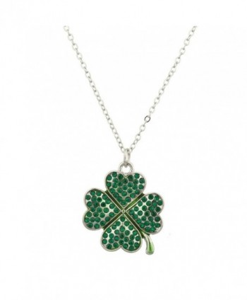 Lux Accessories Pave St. Patricks Day Four Leaf Clover Shamrock Charm Necklace - CX12LHNTQXR
