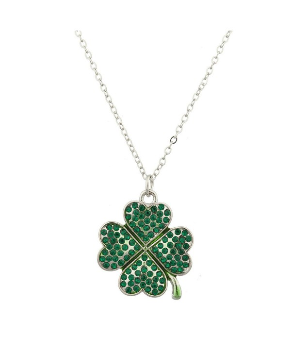 Lux Accessories Pave St. Patricks Day Four Leaf Clover Shamrock Charm Necklace - CX12LHNTQXR