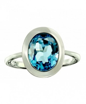 RB Gems Sterling Silver 925 Ring GENUINE GEMSTONE Oval 10x8 mm with Rhodium-Plated Finish- Bezel-Setting - C01832L8LWG
