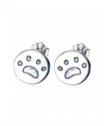 YFN 925 Sterling Silver Animal Puppy Pet Cat Dog Paw Stud Earrings for Women Girls - C912O1HZFEM