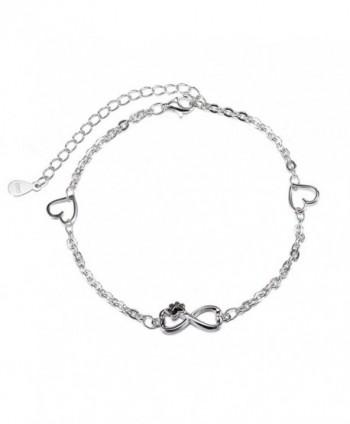 S925 Sterling Silver Infinity Endless Love Symbol Bracelet Love Heart Charm Adjustable Braclets - CN1855EAMH2