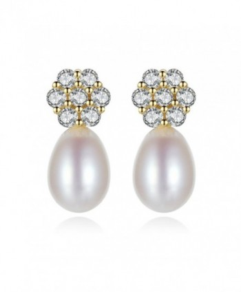 Snow KissGold Plated 925 Sterling Silver AAA CZ 8mm Freshwater Pearl Earrings Stud for Women - C118634LD4O