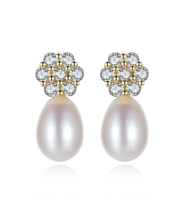 9963a2c55 Snow KissGold Plated 925 Sterling Silver AAA CZ 8mm Freshwater Pearl  Earrings Stud for Women -