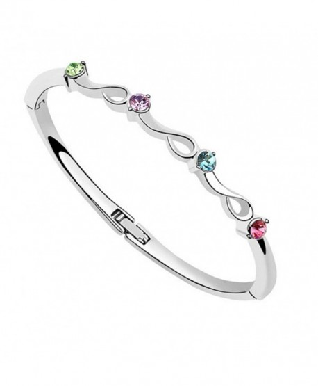 """Crystals from Swarovski Multi Colorful Bangle Bracelet 18 ct White Gold Plated for Women 7"""" - CA12MAH8J1B"""