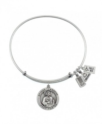 Wind & Fire Saint Jude Medal Silver Finish Charm Bangle - CJ12CDTF5FR
