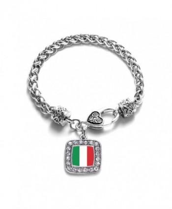 Italian Flag Italy Pride Charm Classic Silver Plated Square Crystal Bracelet - C711LI43WLD