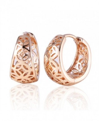 GULICX Gold Tone Stunning Simple Style Party Women's Hoop Earrings - C61222NTV45