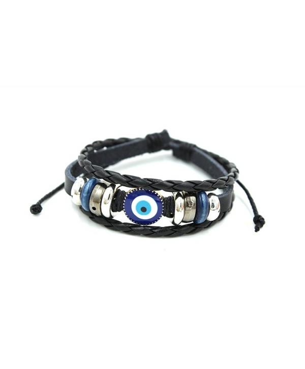 Wild Wind (TM) Abstruct Eye Braided Cord Silver Tone Plate Adjustable Leather Wrap Bracelet - C3121IXWYSZ