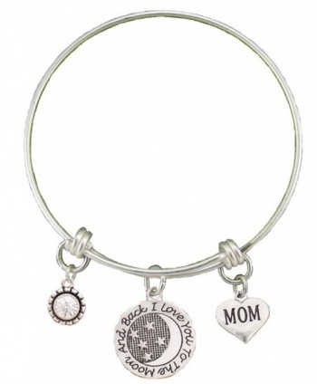 Mom Love You To The Moon Silver Wire Adjustable Bracelet Heart Jewelry Gift - C412BC16FKL