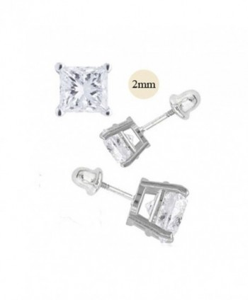 14K White Gold 2mm Princess Cut Simulated Diamond Stud Earring Set on High Quality Prong Setting- Screw Back Post - CF11ZZF6UZV