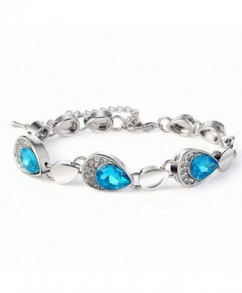 Eternal Love Blue Crystal Rhinestone Silver Bracelets and Earrings for Women - CQ11V8BSHFH