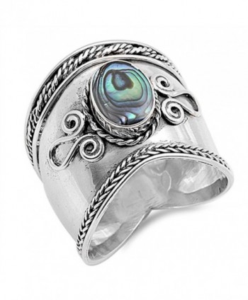 Simulated Abalone Wide Bali Ring New .925 Sterling Silver Rope Design Band Sizes 5-12 - CX12G768ITH