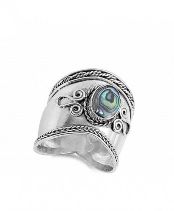 Simulated Abalone Sterling Silver Design in Women's Band Rings