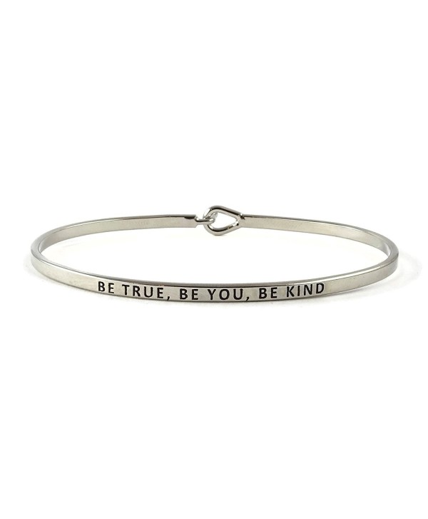 Be True- Be You- Be Kind Inspirational Hook Bangle Bracelet - Rhodium - CQ185GRT6G0