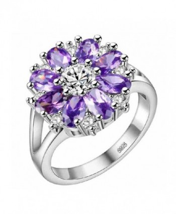 Uloveido Silver Purple Pink CZ Flowers Big Statement Rings Women Glitzy Jewelry J676 - Purple Size 8 - CM18344DLUU