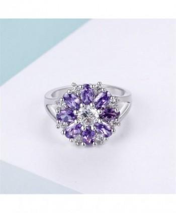 Uloveido Flowers Statement Jewelry J676 Silver Purple 8 in Women's Statement Rings
