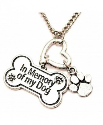 "ChubbyChicoCharms In Memory Of My Dog- Bone Shaped Multi Charm Cluster 18"" Necklace - CV11BK56IIJ"