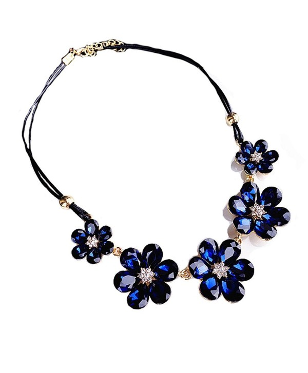 F-U Choker Necklace Fashion Flower Leaf Statement Necklace Collar Necklaces for Women - Blue 2 - CV187GXQXQ3