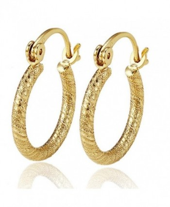Shine Jewelry Women's 14K Plain Yellow Gold Filled Solid Patterned Hoop Huggies Sleeper Earrings E42 - CS12DLJ5LVL