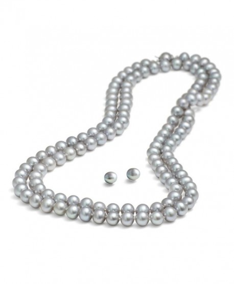 Rolicia 65inches 165cm Freshwater Cultured Pearl Necklace Earrings Gift Box - Grey - CB12O14FRTB