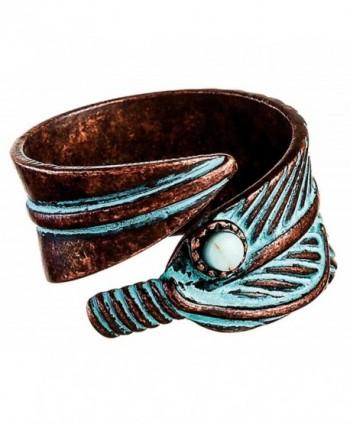 Rain Copper Patina Feathers Bypass Ring - C1185Q7ATDE