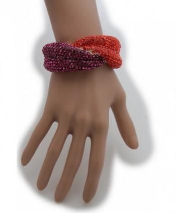TFJ Women Fashion Jewelry Gold Metal Cuff Bracelet Red Purple Rhinestones Lips - CN128RK7V6H