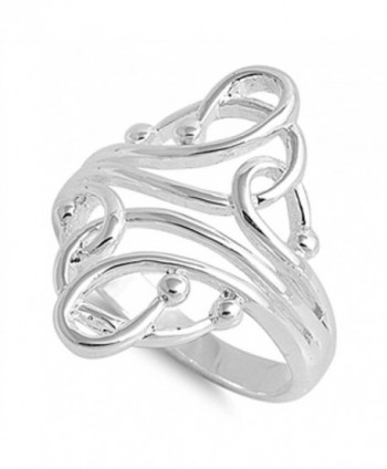 Women's Curved Ball Fashion Abstract Ring .925 Sterling Silver Band Size 4 (RNG14974-4) - CM11Y23WOHP