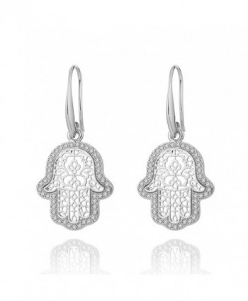 Earrings Fatimas Earring Rhinestone Anti allergy - Silver Plated Fatima's Hand - C5188LU4M7R