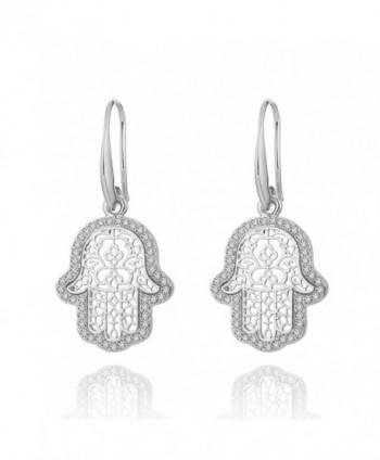 Earrings Fatimas Earring Rhinestone Anti allergy - Silver Plated Fatima's Hand - C5188LU4M7R