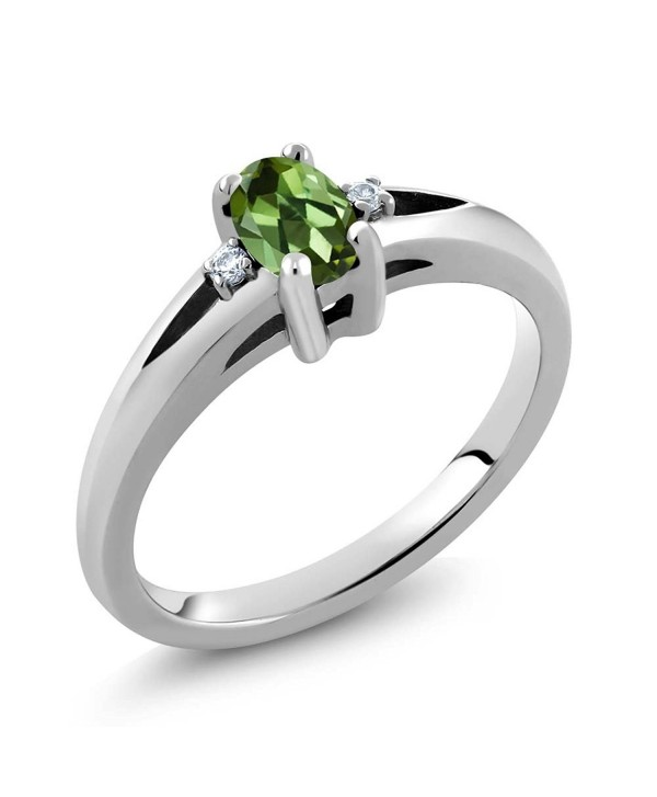 0.43 Ct Oval Green Tourmaline 925 Sterling Silver Ring (Available in size 5-6-7-8-9) - C011NY98LMZ