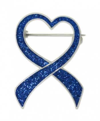 PinMart's Blue Glitter Heart Awareness Ribbon Enamel Brooch Pin - CG11SN63RBJ