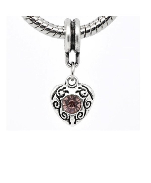 Choose Your Heart Dangle Birthstone Charms for Snake Chain Bracelet - CZ11G4Q6P69