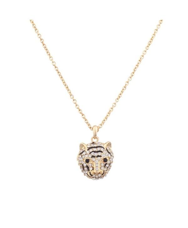 Lux Accessories Pave Panther Tiger Cat Animal Pendant Necklace - C511R6HZHZP