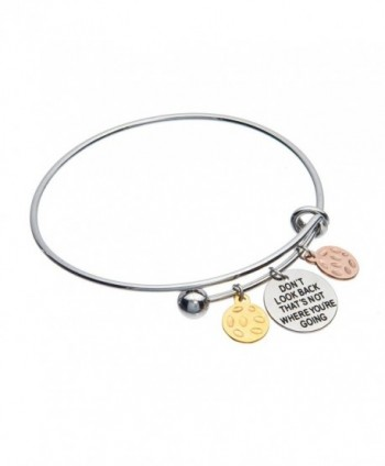 Don't Look Back That's Not Where You're Going Inspirational Adjustable Charm Antique Brushed Bangle - C611VLFSQBP