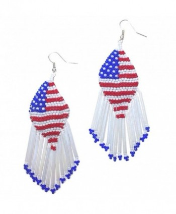 Patriotic American Flag Beaded Chandelier Memorial Day or Fourth of July Earrings & Gift Pouch - CJ1838USHDO