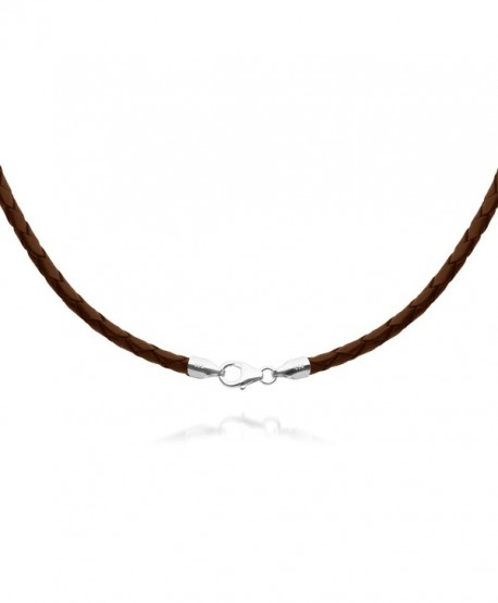 "4mm Brown Braided Leather Cord Necklace Choker with Solid 925 Sterling Silver Clasp 18"" - CA115GMBQYN"