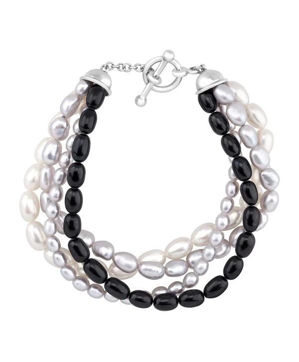 Honora 4-Strand Baroque Freshwater Cultured Pearl Bead Bracelet in Sterling Silver - C112G8LXLWP