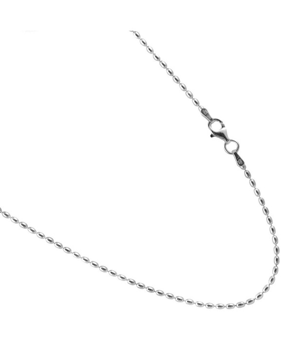 "Rice Bead Sterling Silver Chain. 1.75 by 3mm Italian Necklace. 16-18-20-22-24-30"" - C917Z3CGGHY"