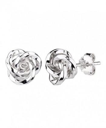 G&H Sterling Silver Flower Love Knot Stud Earrings - CM12M0G12PP