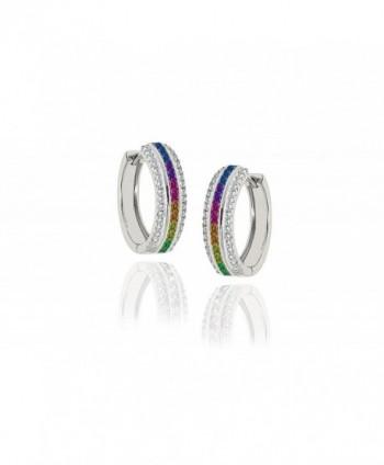 NYC Sterling Women Cubic Zirconia 22MM Princess Cut Rainbow Hoop Earrings - CW182HQ5WEY