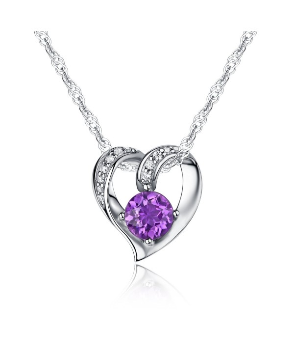 """Ideal Gifts Sterling Silver and Natural Gemstone Heart Style Pendant Necklace-18"""" - Natural Amethyst - CC17AZXAIDD"""