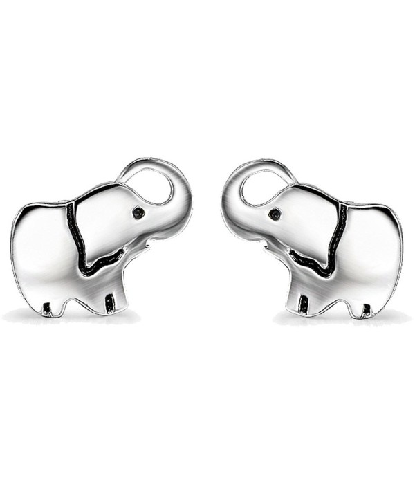 YFN Ladies Lovely Cute Jewelry Gift Silver Good Lucky Elephant Stud Earrings Charms - C412NR241Z9