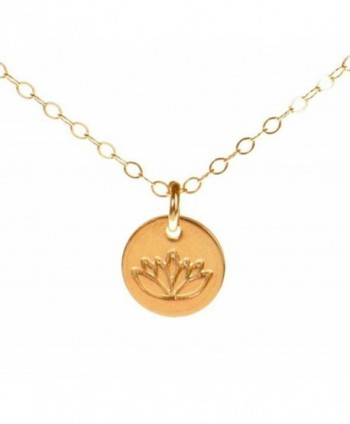 Lotus Necklace- Tiny Gold Filled Yoga Pendant on 14k Gold Filled Chain- Dainty Zen Flower Charm - C711EGLK0F1